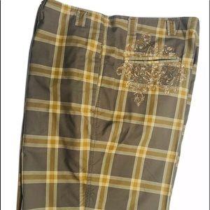 Robert Graham embroidered shorts 36 gray tan plaid